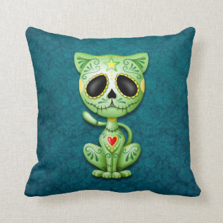 Zombie Sugar Kitten, green and blue Throw Pillow