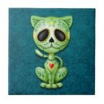 Zombie Sugar Kitten, green and blue Small Square Tile