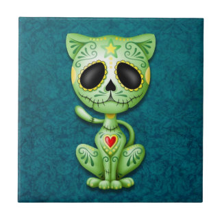 Zombie Sugar Kitten, green and blue Tile