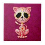 Zombie Sugar Kitten, pink Ceramic Tile