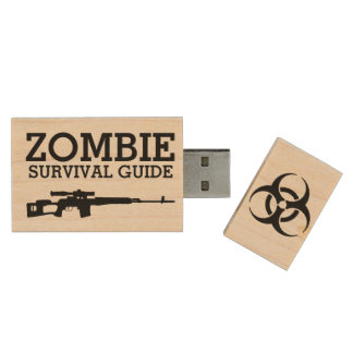 Zombie Survival Guide Funny Wood USB Flash Drive