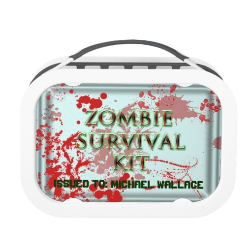 zombie survival kit with blood splatter lunch box