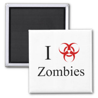 Zombie Survival Tips, I Love Zombies 2 Inch Square Magnet