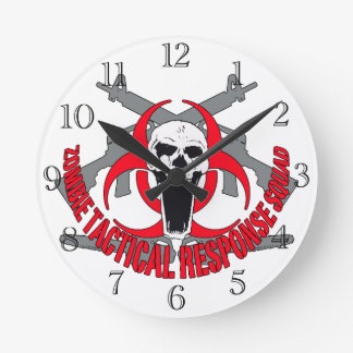 Zombie tactical red round wallclocks