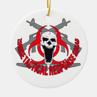 Zombie tactical red Double-Sided ceramic round christmas ornament