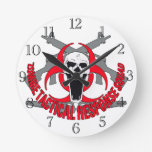 Zombie tactical red round clocks
