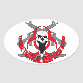 Zombie tactical red oval sticker