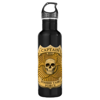 Zombie Task Force - Captain Badge Stainless Steel Water Bottle