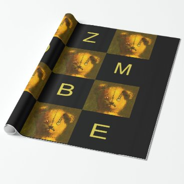 Halloween Themed Zombie Teddy Wrapping Paper