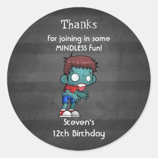 Zombie Theme Birthday Thank You Classic Round Sticker
