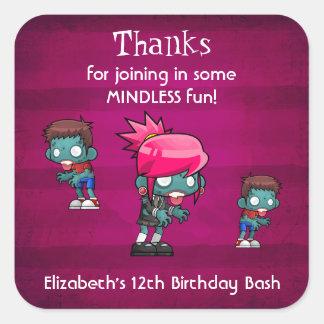 Zombie Theme Birthday Thank You Square Sticker