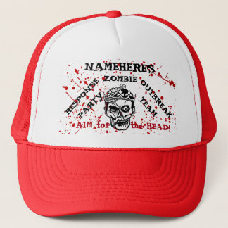 Zombie Theme Party! Add Name! Zombie Outbreak! Trucker Hat