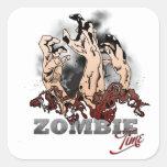 Zombie Time Calcomanías Cuadradass Personalizadas