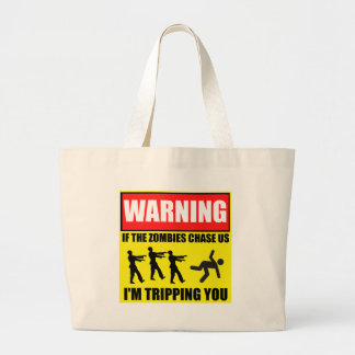 Zombie Trip Warning Sign Canvas Bags