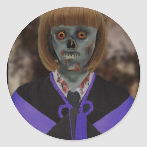Zombie U Girl Classic Round Sticker