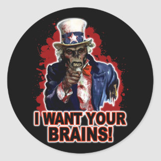 Zombie Uncle Sam Classic Round Sticker