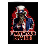 Zombie Uncle Sam Greeting Cards