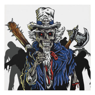 Zombie Uncle Sam Panel Wall Art