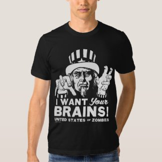 Zombie Uncle Sam I Want Your Brains United States of Zombies Shirt