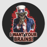 Zombie Uncle Sam Stickers