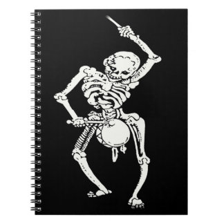 Zombie Undead Skeleton Marching and Beating A Drum Spiral Notebooks