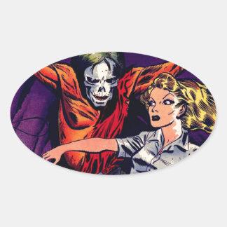 Zombie - Vintage Horror Comic Oval Sticker