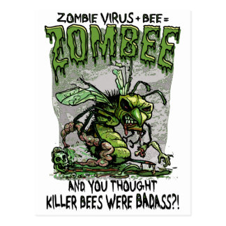 Zombie Virus add Bee equals Zombee Postcard