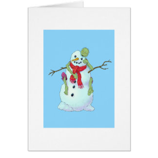 zombie vs snowman greeting card