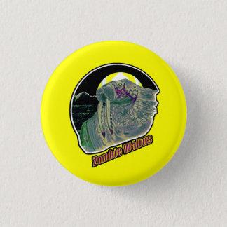 Zombie Walrus - On Yellow Pinback Button