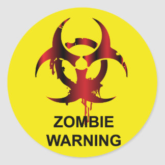 Zombie Warning Classic Round Sticker