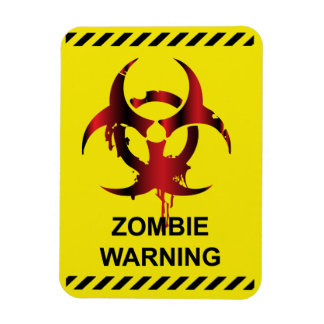 Zombie Warning Rectangle Magnets