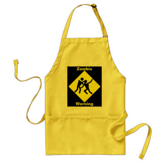 Zombie Warning Road Sign Adult Apron