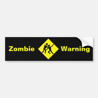 Zombie Warning Road Sign Bumper Sticker
