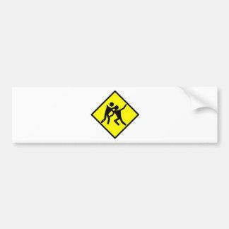 Zombie Warning Road Sign Car Bumper Sticker