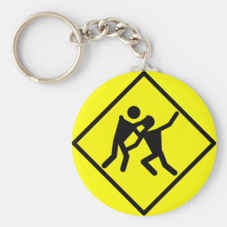 Zombie Warning Road Sign Keychain