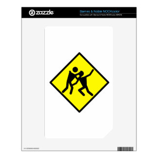 Zombie Warning Road Sign Skin For NOOK Color