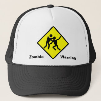 Zombie Warning Road Sign Trucker Hat