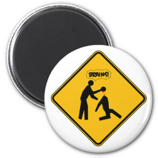 Zombie Warning Sign 2 Inch Round Magnet