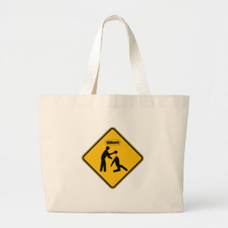 Zombie Warning Sign Canvas Bags