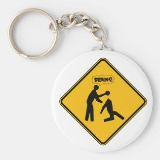 Zombie Warning Sign Basic Round Button Keychain