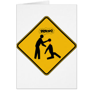 Zombie Warning Sign Card