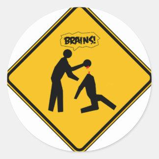 Zombie Warning Sign Classic Round Sticker