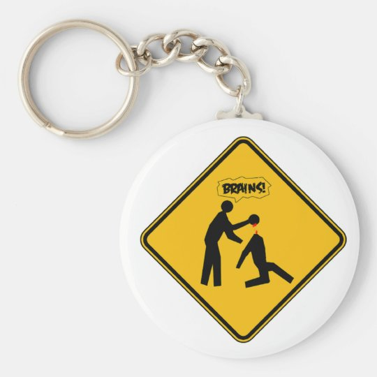 Zombie Warning Sign Keychain