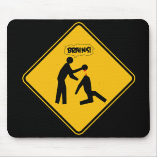 Zombie Warning Sign Mouse Pad