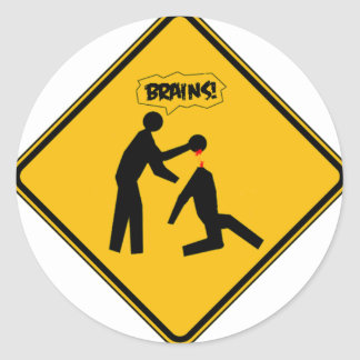Zombie Warning Sign Round Stickers