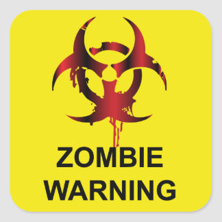 Zombie Warning Square Stickers