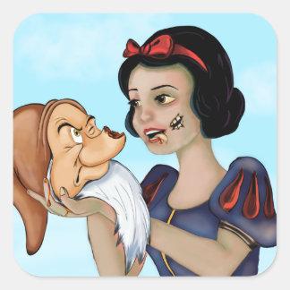 Zombie White Square Sticker