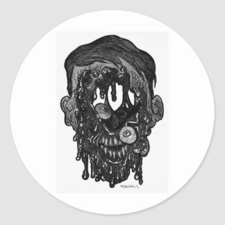 zombie whith hole in face classic round sticker