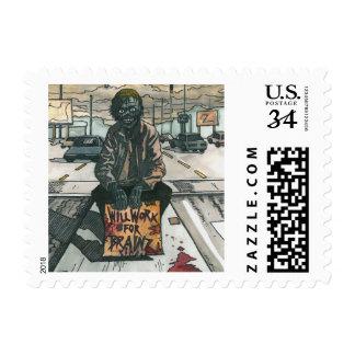 Zombie Will Work For Brainz Stamp