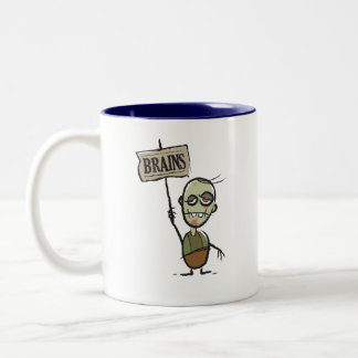 Zombie with Brains Sign Two-Tone Mug